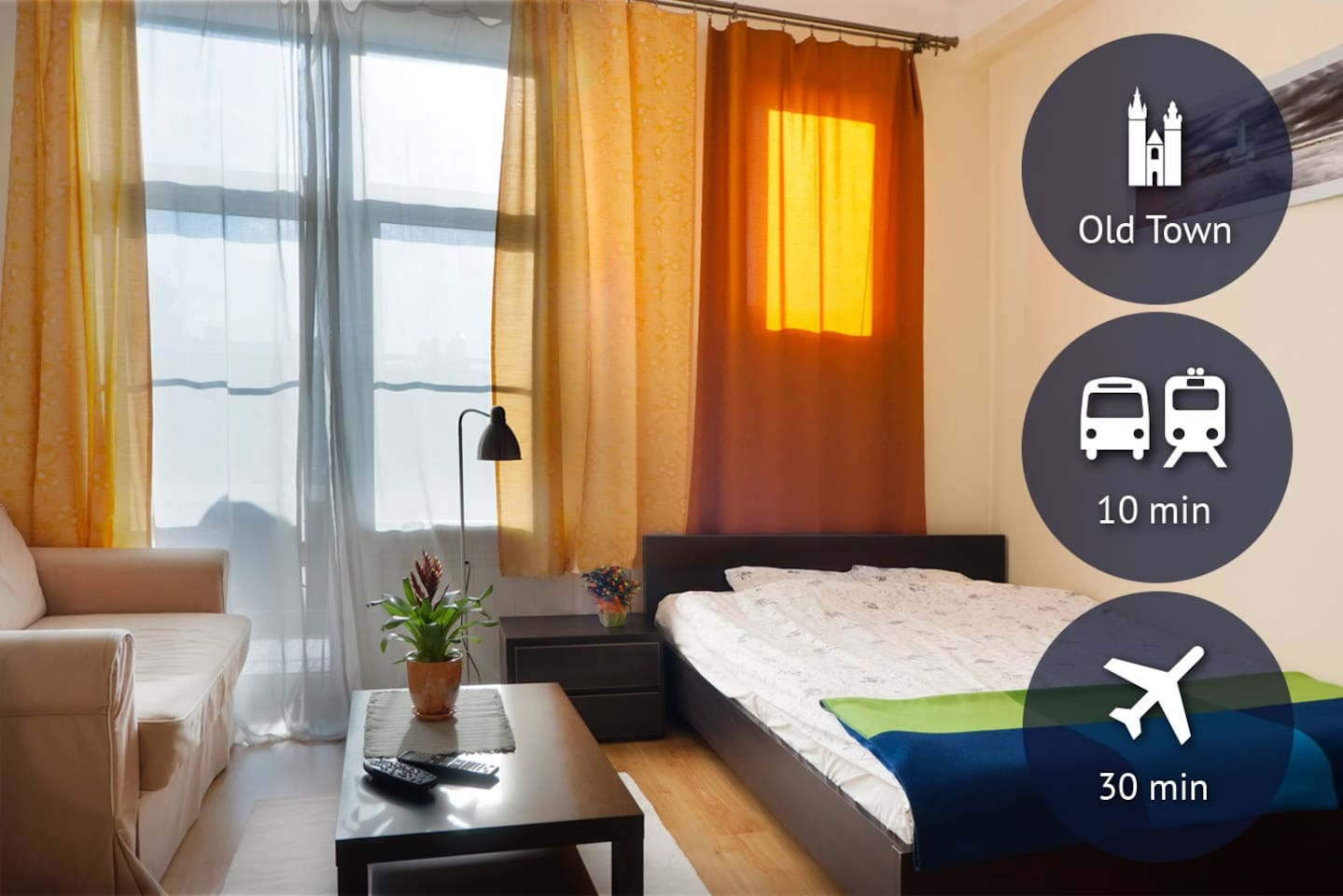 super comfortable apartment in the Old Town district, direct bus from/to the airport, 10 min from/to the train/bus station