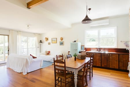 A family holiday to find the time to live, cook seasonal produce, breathe ocean air and just be. A charming cottage on the Mornington Peninsula with exposed brick, reclaimed timber & large backyard just for you.