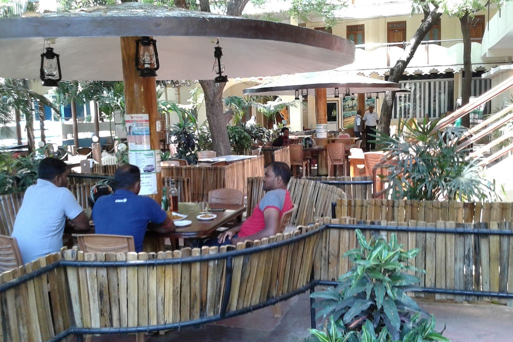 enjoy a drink and a meal in the outdoor dining area