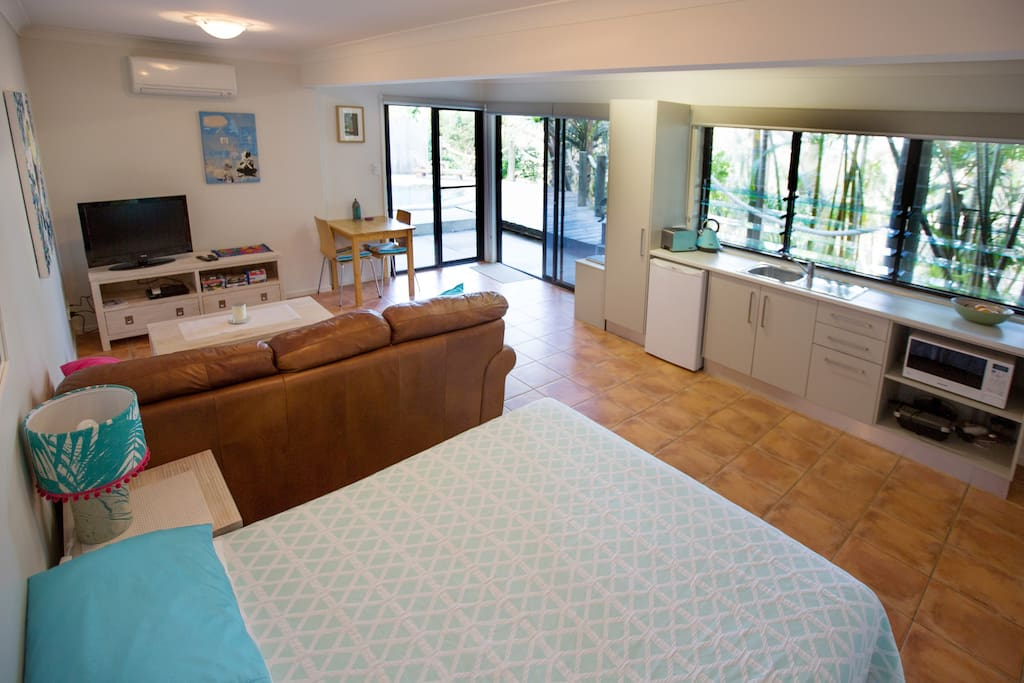 Spacious apartment overlooking the pool and tropical garden.