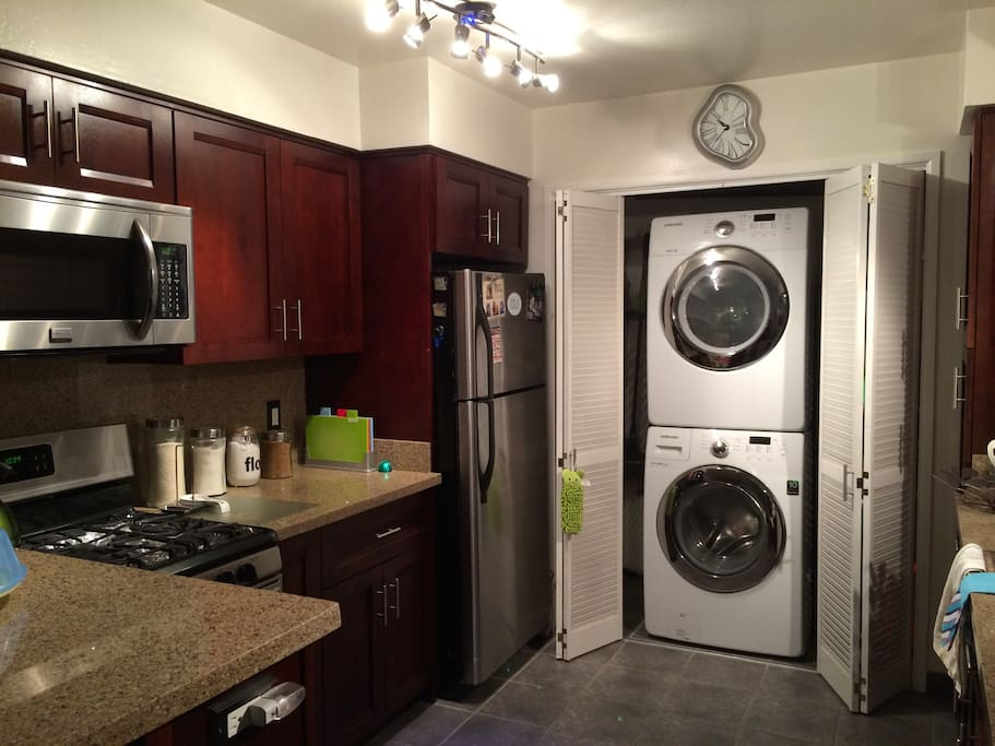 Washer and dryer in unit. Access to use all spices, oil, cooking utensils, pots/pans