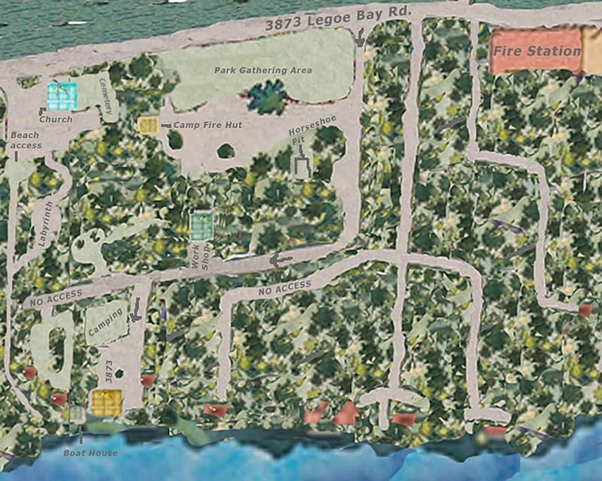 Lummi Island Oceanfront Home Property Sitemap - Windy on the beach, then hang in the Park.