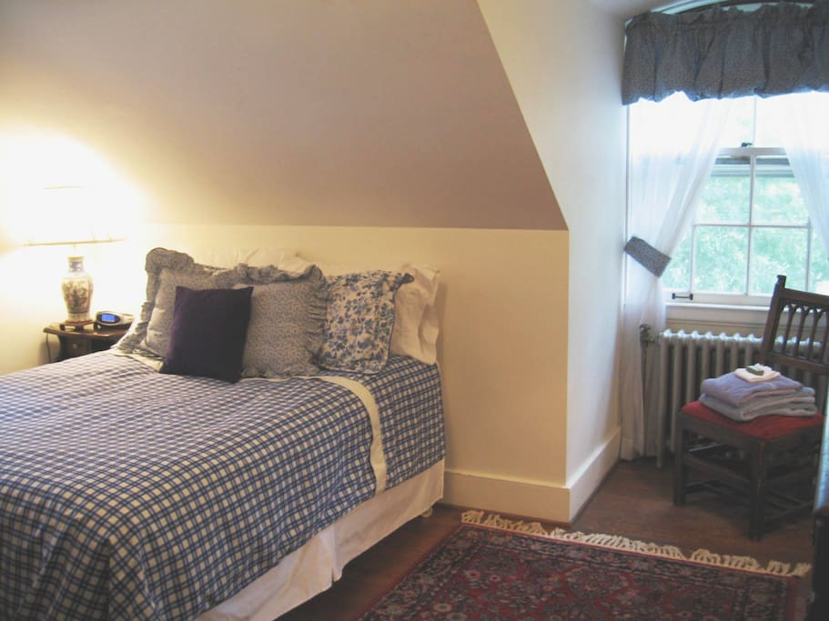 Room A: double bed with shared bath