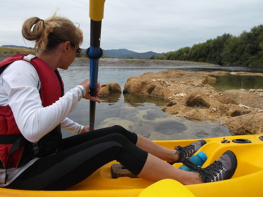 Our 10km down river  kayak trip takes in Taniwha lair and finishes at The Wharf Hub
