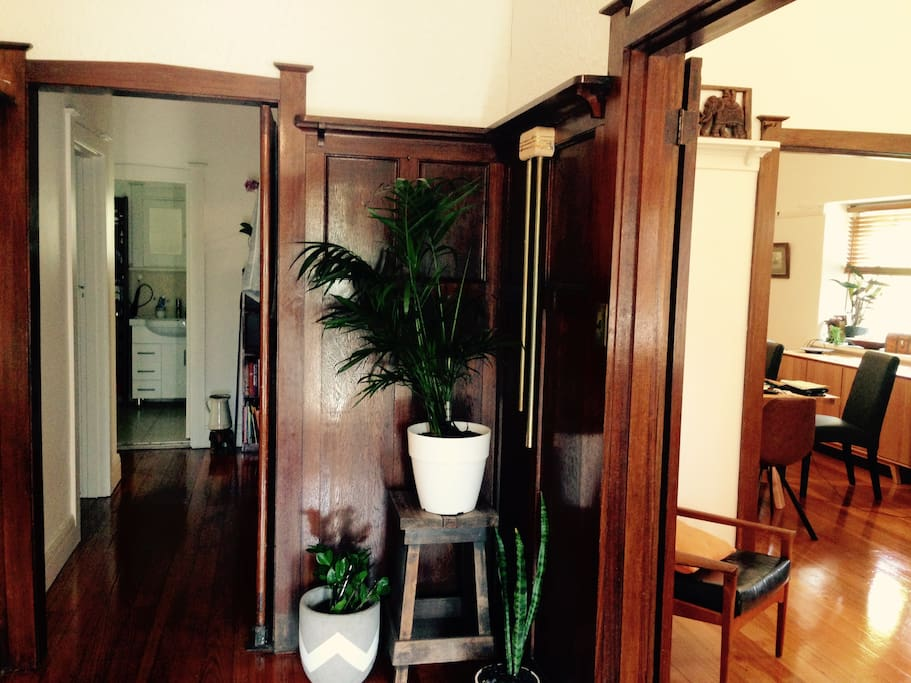 Stunning entry with timber finishings and leadlight doors