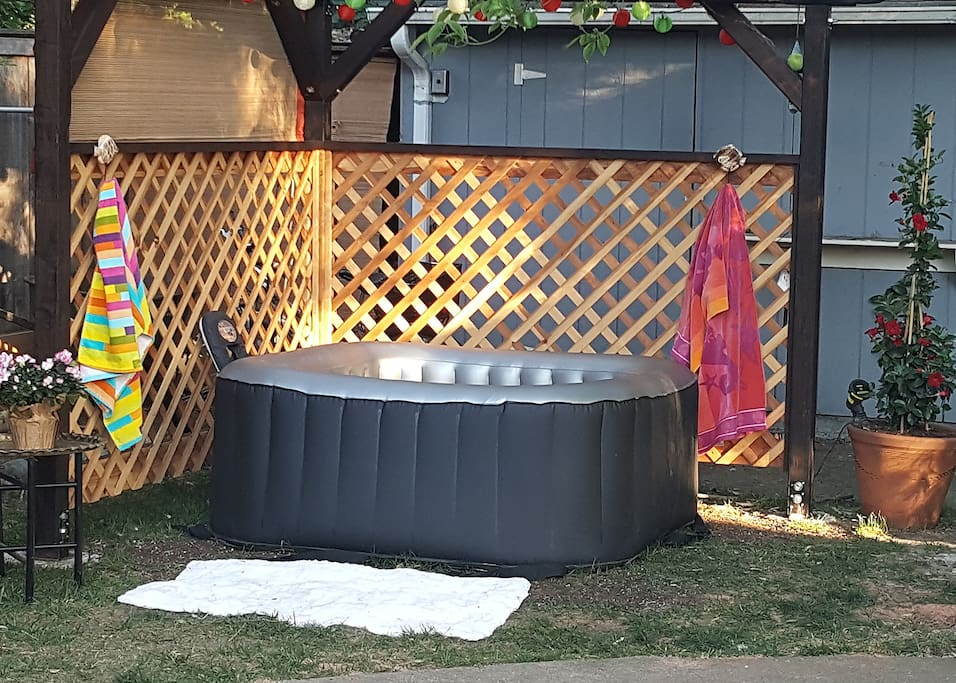 Romantic mini hot tub for two...especially at night with the lights!
