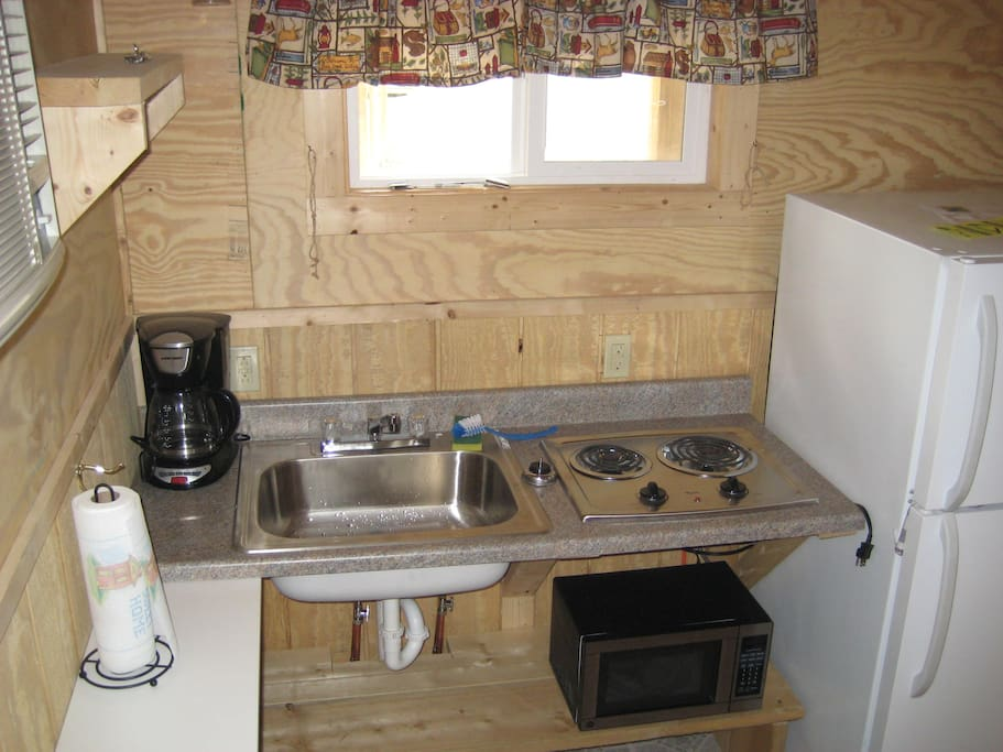 New River Cabin kitchenette - Refrigerator,microwave,2 burner stove top, coffee maker-Does not include dishes or pots & pans