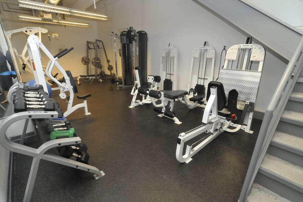 2-story gym with full set of free weights, machines, cardio equipment, TVs (personal trainers also available)
