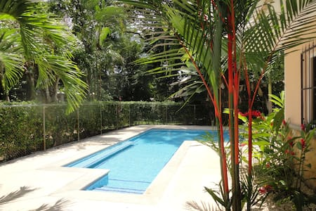 Comfortable house with awesome private pool and Patio.  Great Location.  Walk to shops and restaurants.  Minutes to Los Suenos Resort. Airport shuttle available.  Fully equipped for your vacation in Paradise. Secure parking on site.  10 Minutes from the hustle and bustle of Jaco Beach.  Walk to Playa Herradura.