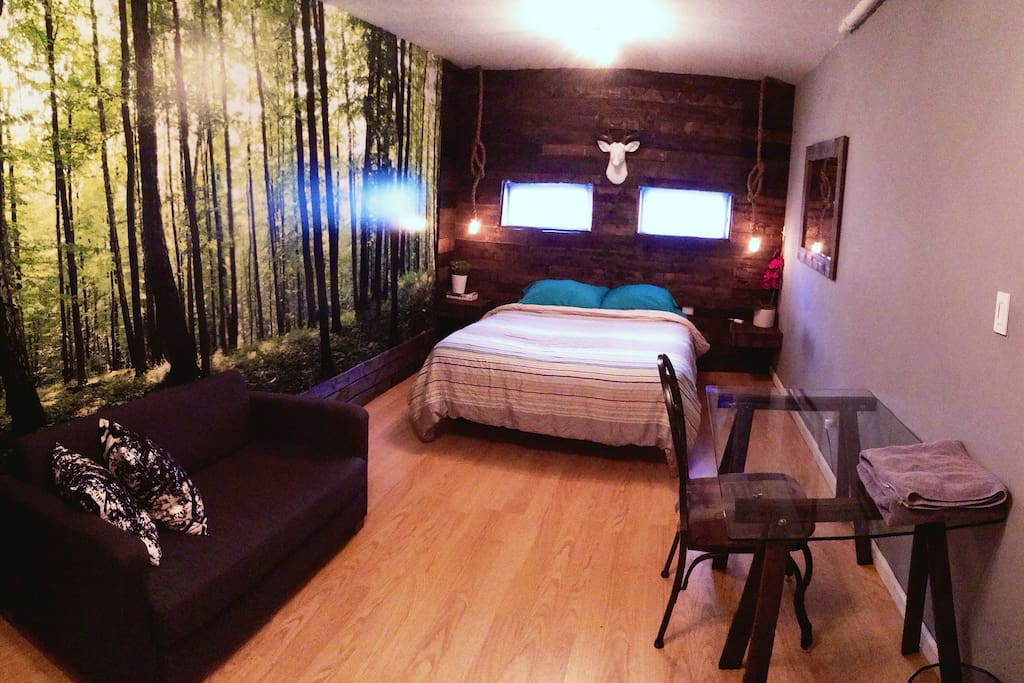 Full view of the room, with desk, sofa and Queen size bed.