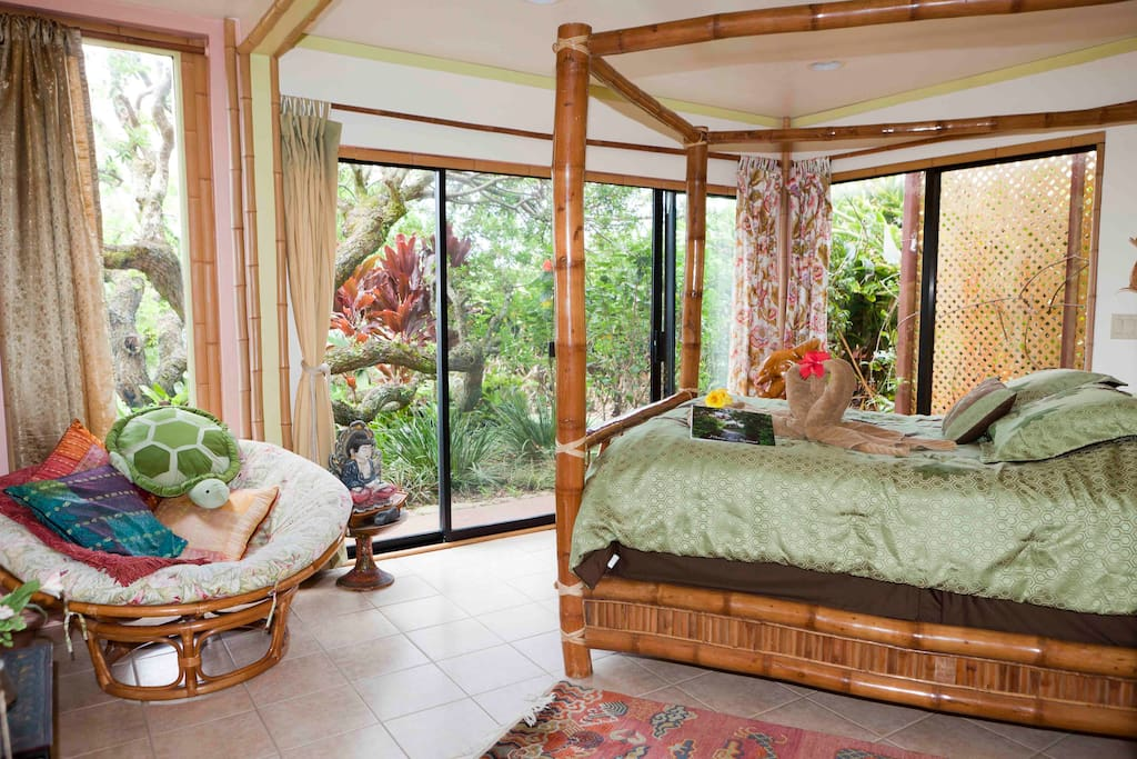 Our Dolphin room features a beautiful bamboo poster bed