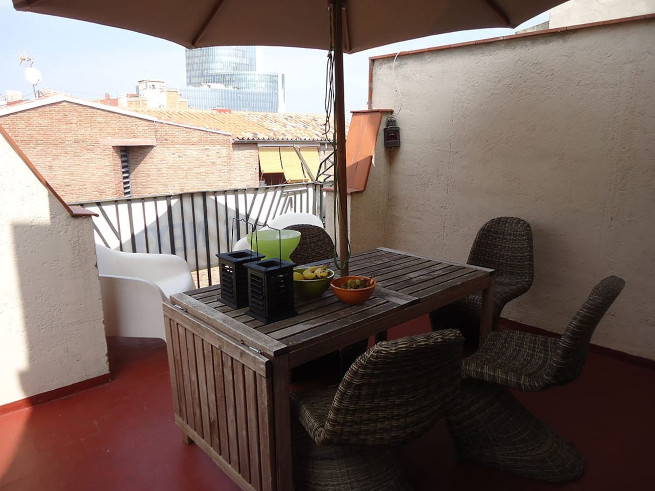 Terrace of the apartment, at walking distance from the beach and also from the Museums at the City Centre.