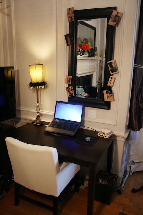 Your own little workspace.  Laptop and WiFi provided free of charge.