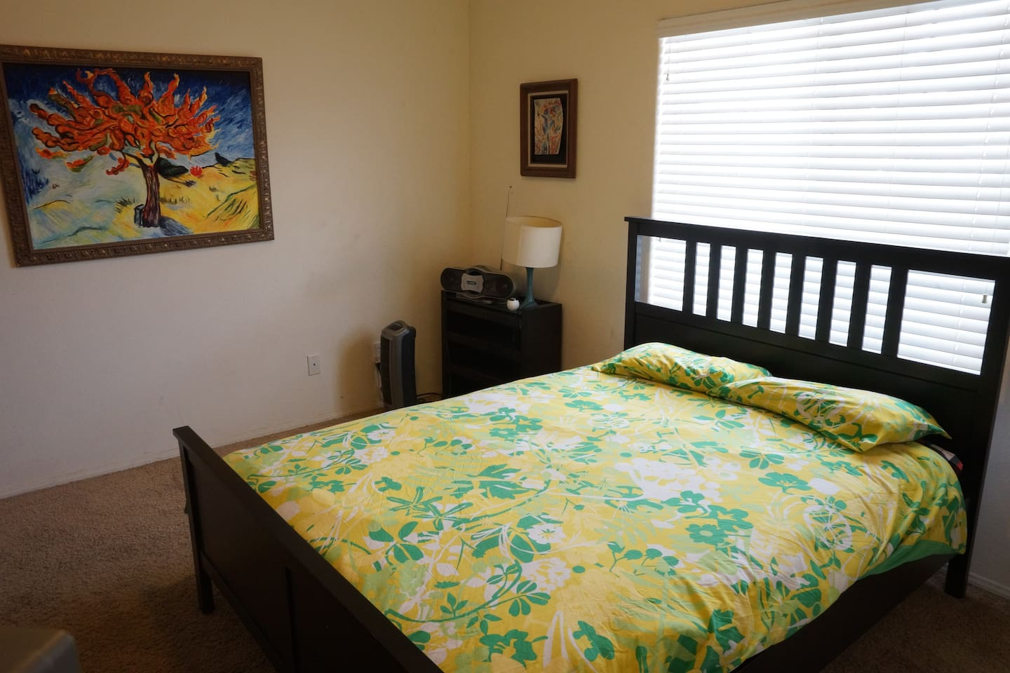 Private furnished room, pillow top matress bed, television, dvd, radio, fan, enormous closet space