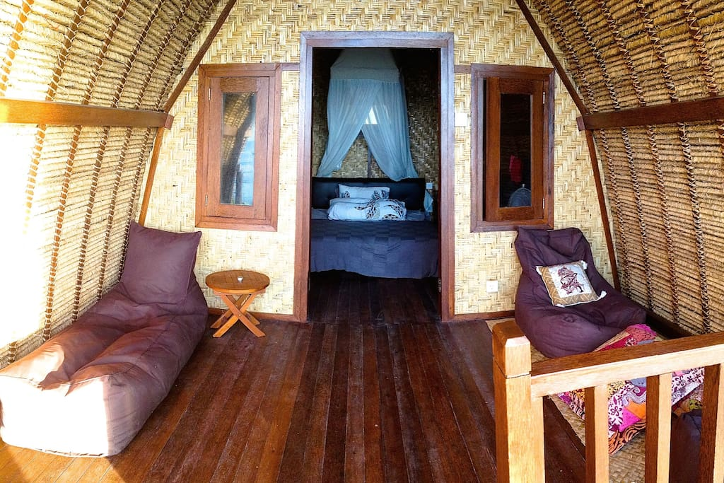 gecko room with one double bed, with mega sea view, private deck, mini fridge.