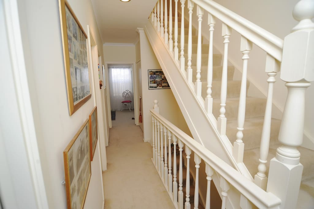 Both bedrooms are on this first level with bathroom in between. Very suitable for family members or two friends travelling.