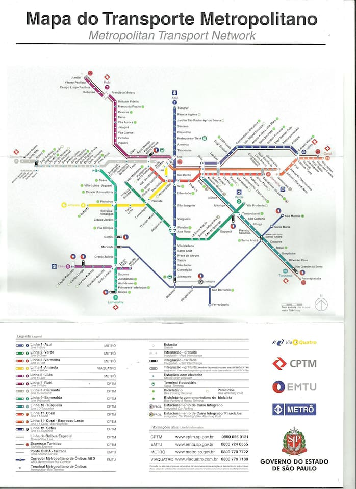 This is a map of the São Paulo metrô system.  My place is conveniently located to 4 different metro stations in downtown São Paulo.