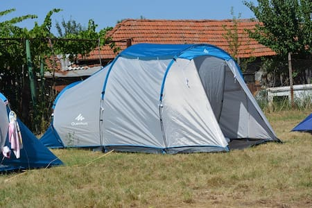 Campsite in village in Bulgarian Rhodope Mountains - Tent