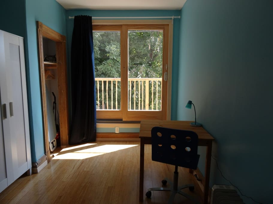 The bedroom is quite large and has a patio door to its own  veranda!