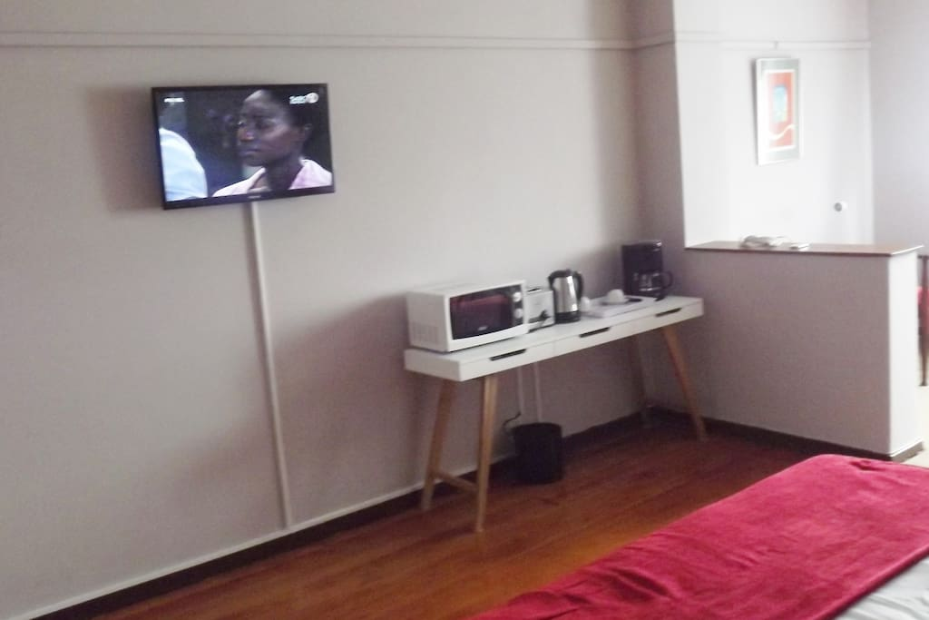 Bedroom with television.