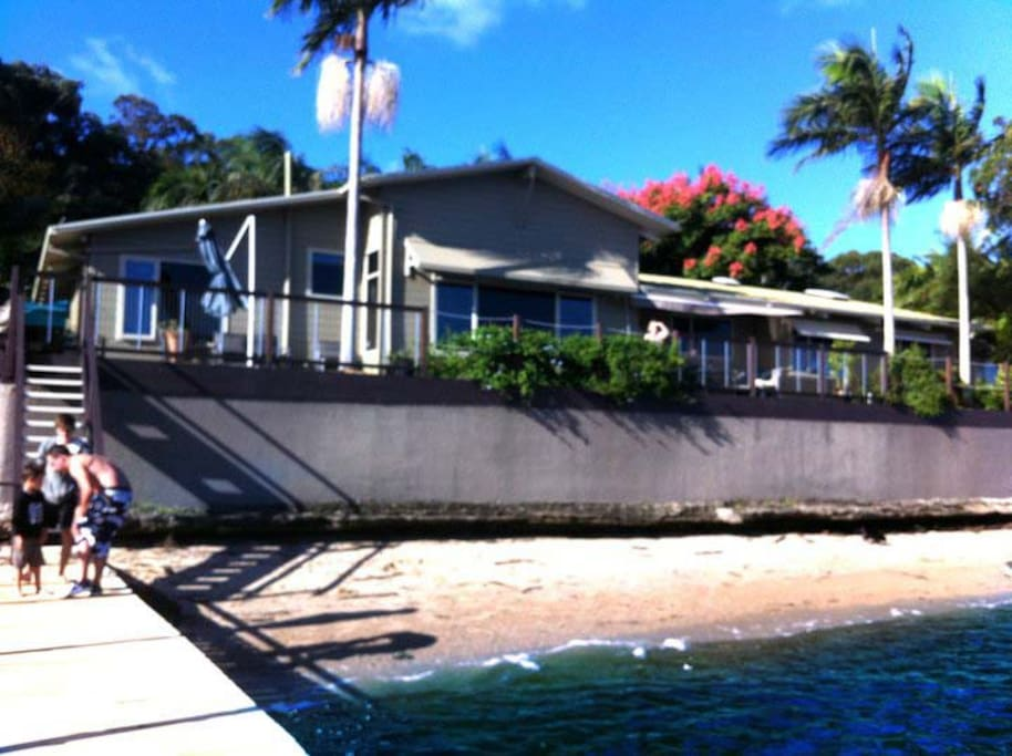 The RIVER HOME has a private beach and jetty