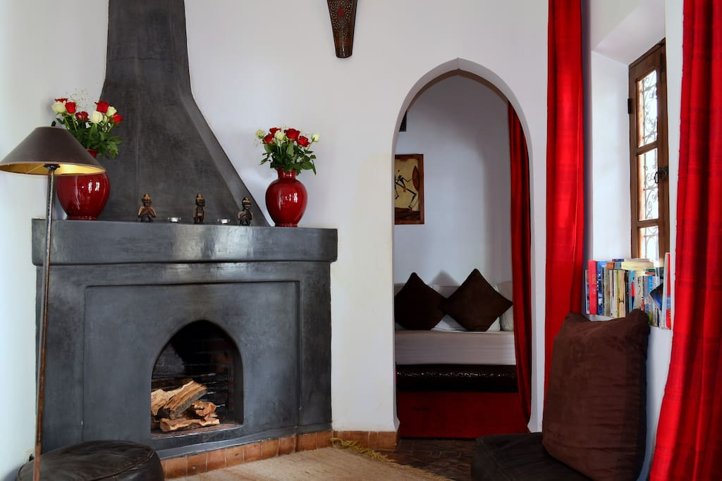 Open fireplace at Marrakech Riad