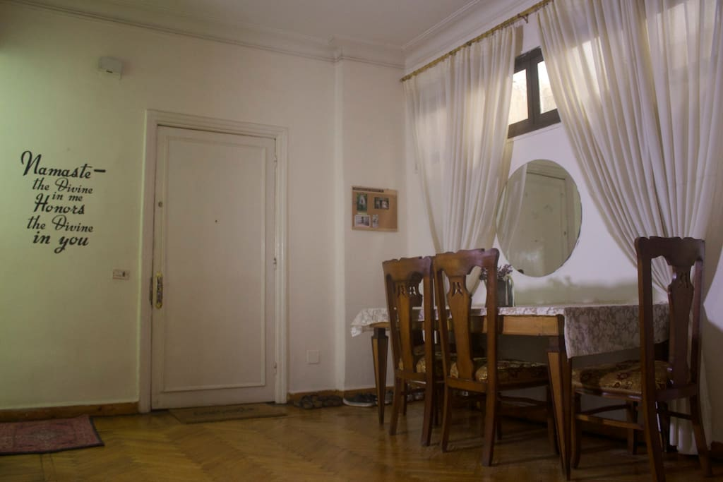 The dining room and entry door.