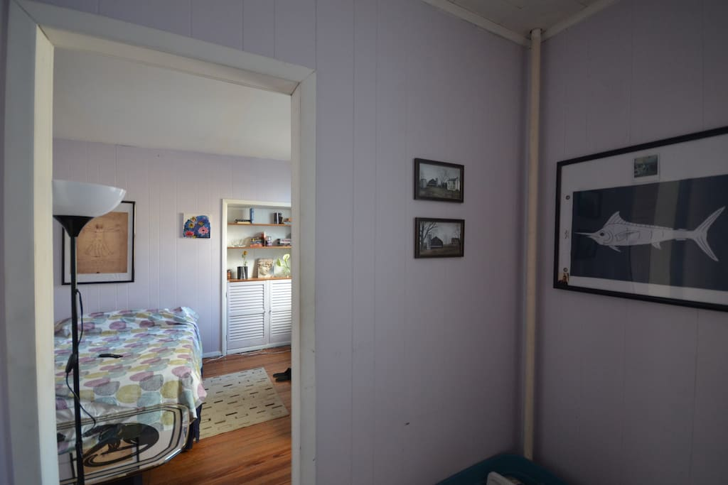 Bedroom has small anteroom for sitting or working (window off to the right not pictured).