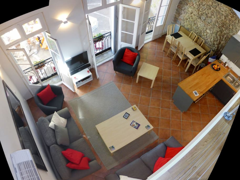 The living room and dining area from the mezzanine