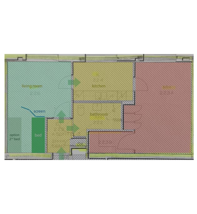 Green area is in guests use, yellow  area is shared and red is private. Access to private area goes through kichen and living room. Bathroom is shared.