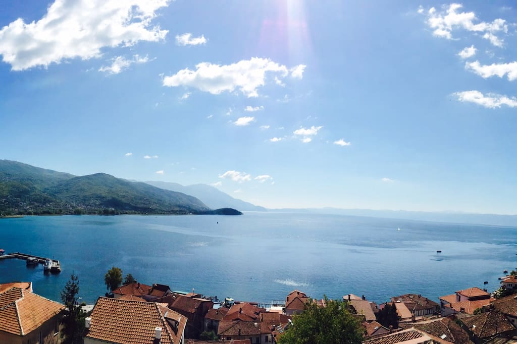 a view of the wonderful Ohrid Riviera from the Samuil's Fortress