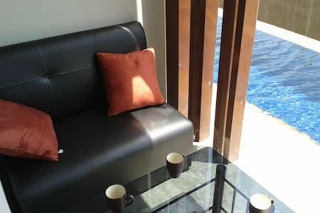 Seaview Studio just finished in June 2014 (fully furnished and equipped) located in a 5 stars like resort recently opened. It's a great place to relax, have fun, and enjoy incredible amenities. Nice beach at 2min walk & crazy Chaweng at 10 min drive.