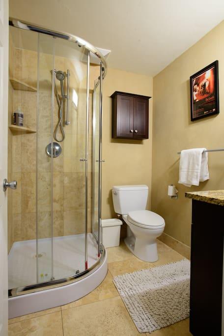 Nice bathroom with stylin' shower