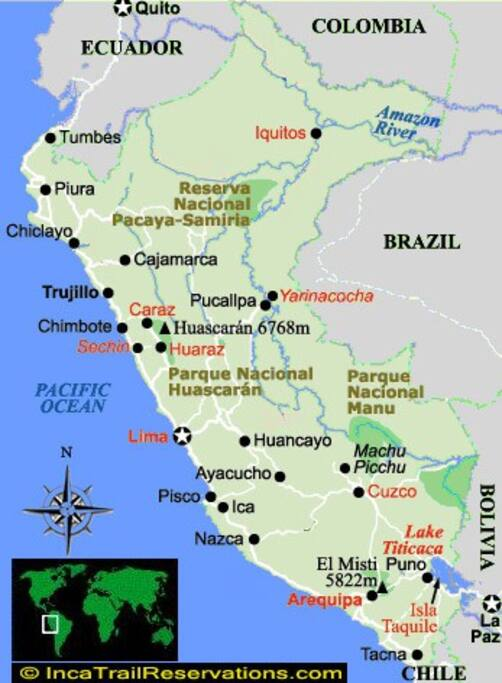 Map of Peru: Caraz is 8 Hours from Lima by Bus. 6 Hrs by Car. 1 1/2 Hrs by Plane.