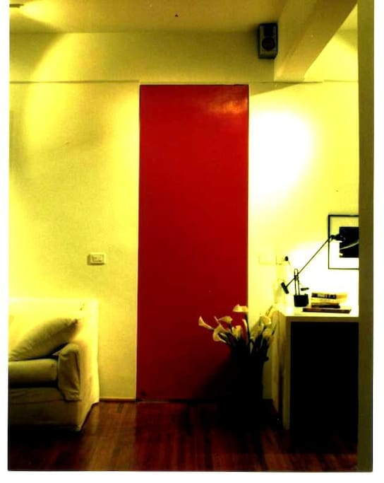 Your suite is behind this red door