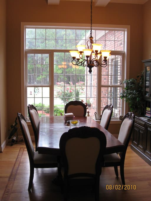 Dining Room with 14 ft Coffered ceilings!