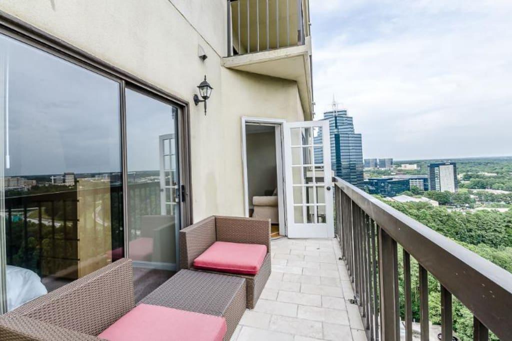 Stunning Views from the balcony overlooking Atlanta