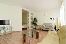 Studio apartment with one bedroom.