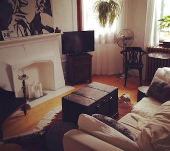A room in a fabulous 4 1/2 apartment. It is intimate, cordial and has a lot of charm. In the great Mile-end neighborhood (part of le Plateau),