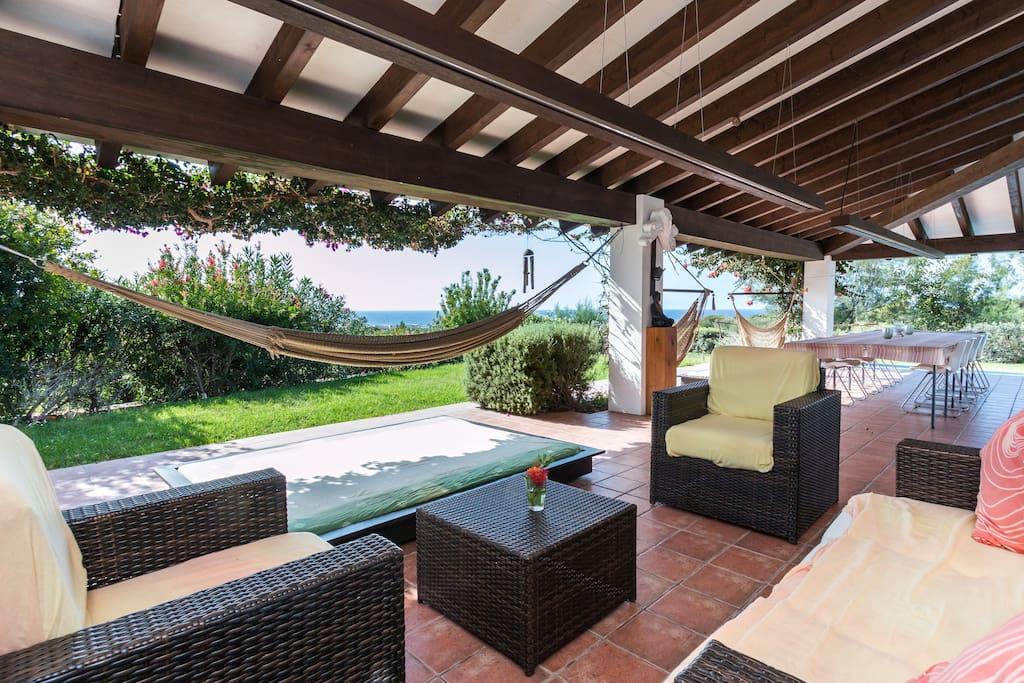 Terrace, living area and hammocks