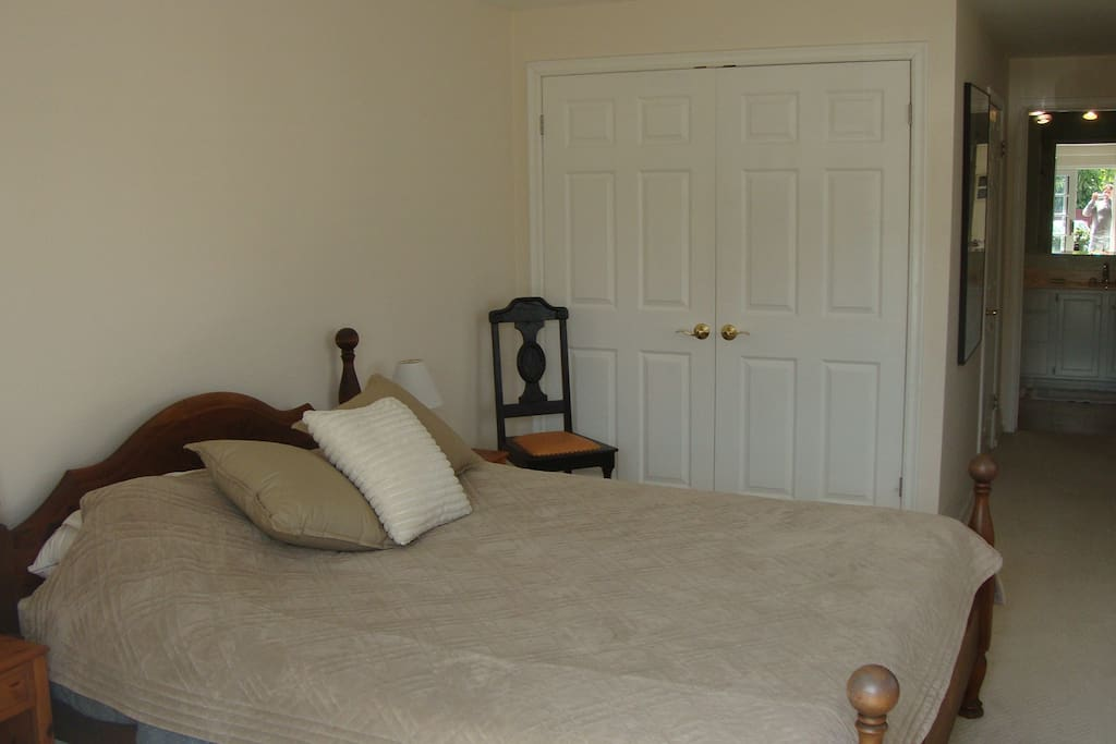 queen size bed and closet