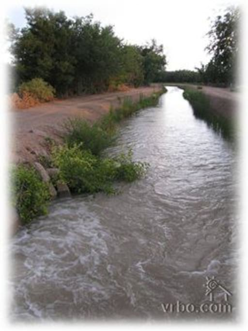 Farmers use canal system to irrigate crops.