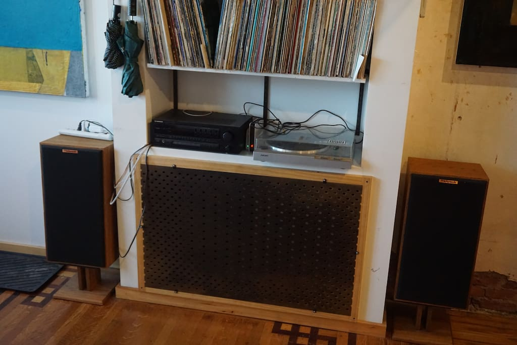 Tons of records and a record player available