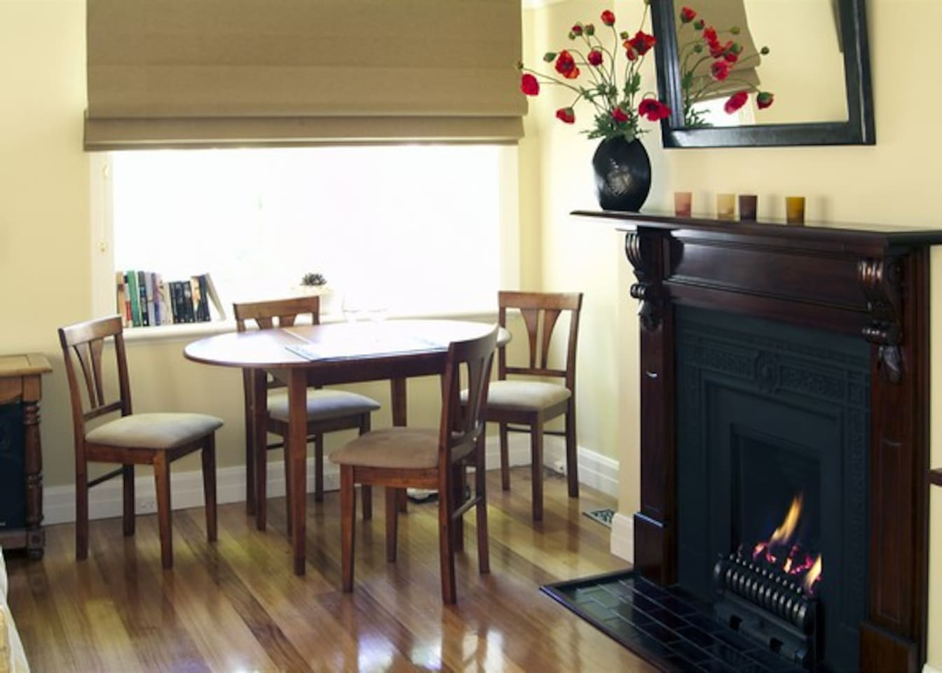 Polished floorboards and a gorgeous fire....