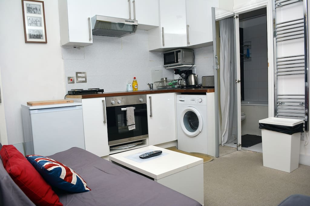 Open plan small kitchenette