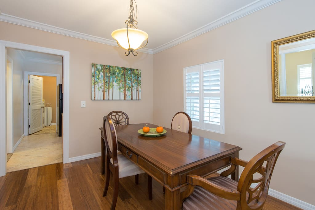 Large dining table for meals, puzzles, and games!