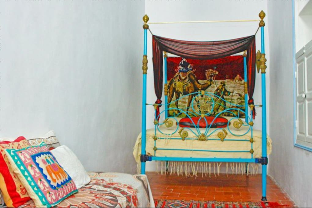 The Camel room,wooden ceiling,ornate antique bed