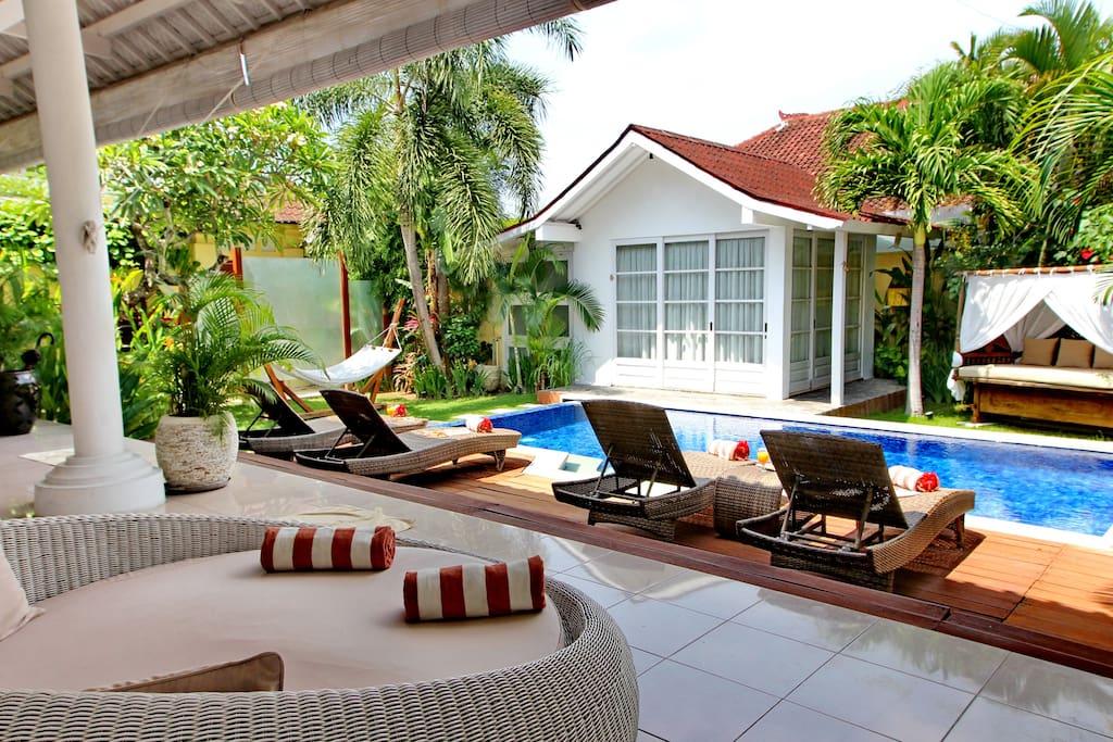 Private swimming pool, lazy lounge bed, sunbeds, gazebo, hammock.