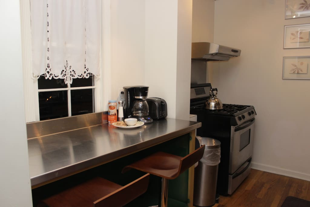 Seating for 3 in galley style kitchen.  Complimentary coffee and tea will be provided