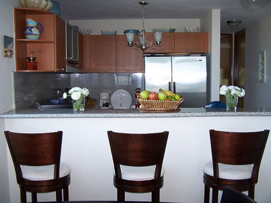 Kitchen as seen from dining area.